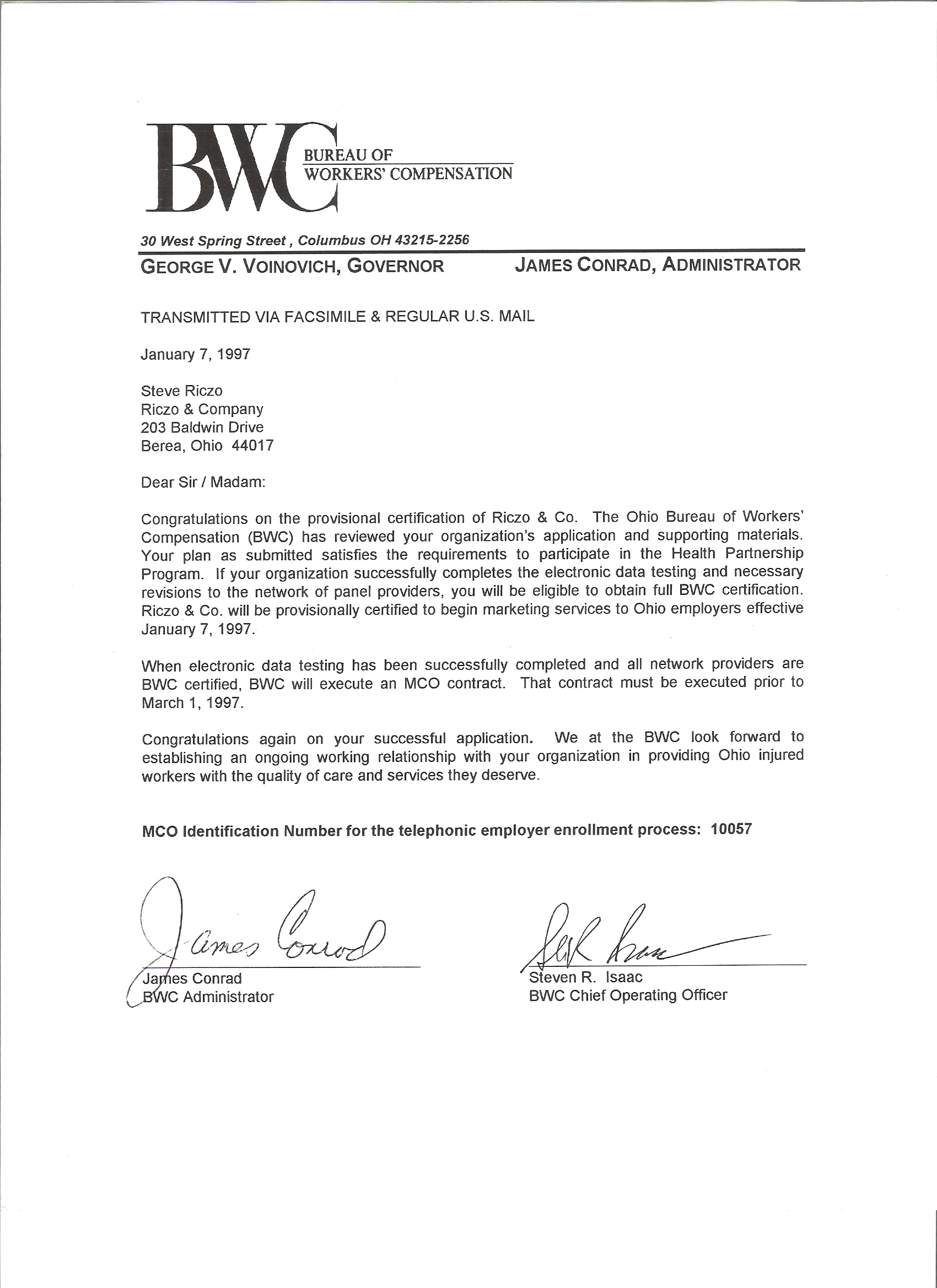 mco report card for riczo co and letter of approval from ohio bureau of workers 39 compensation